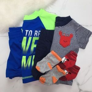 🎉Bundle baby boy outfits shorts tops socks A7